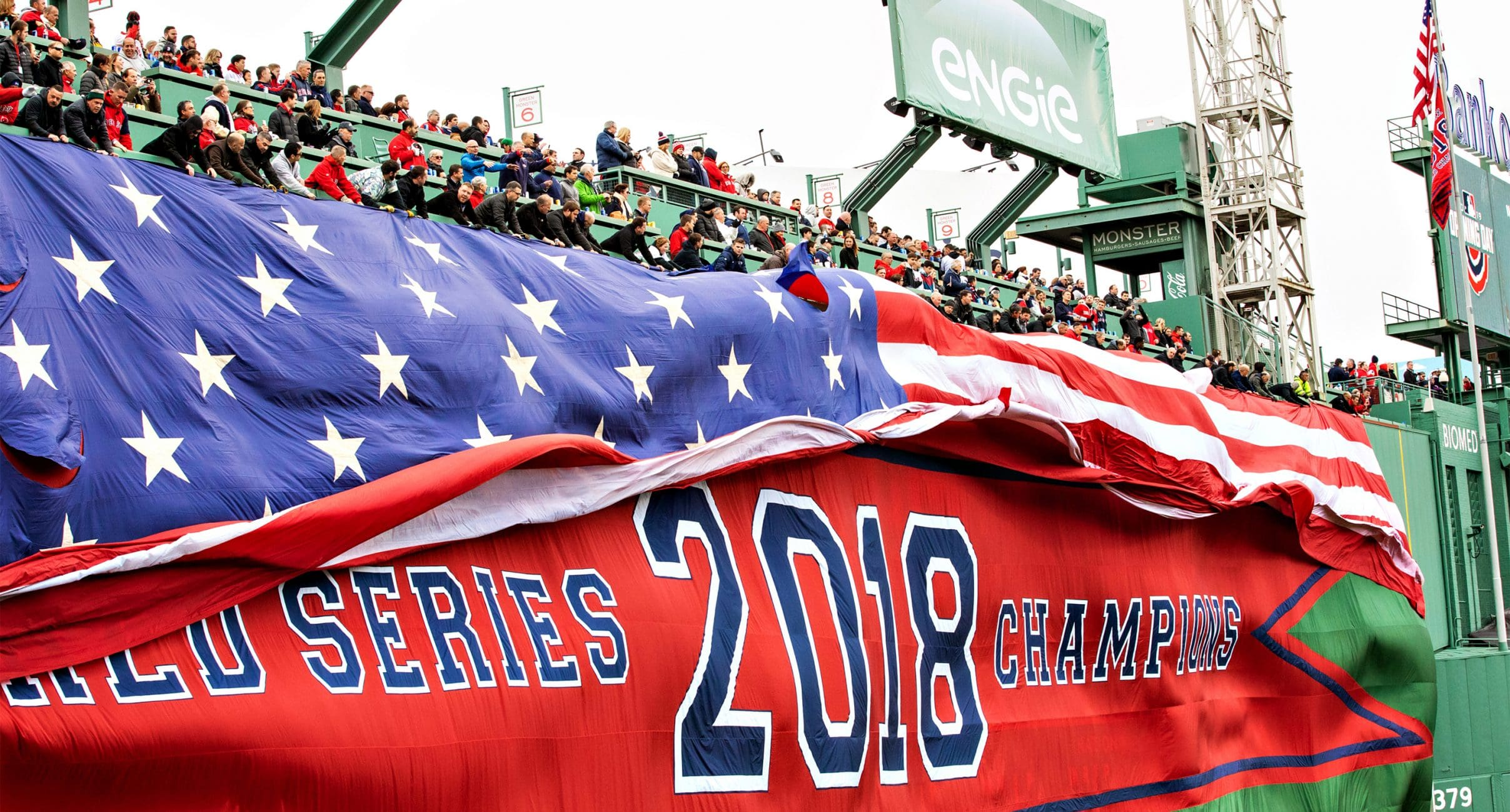 Photograph of American Flag Over Green Monster in Fenway Park