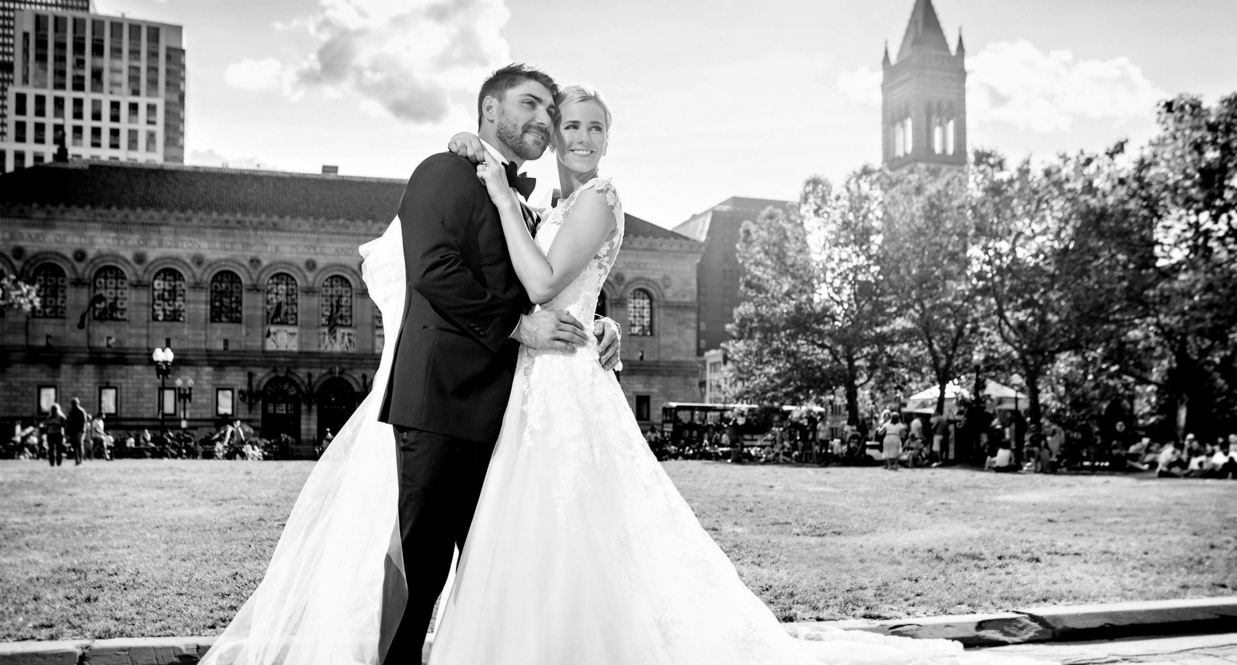 Photograph of Bride and Groom in Copley Square
